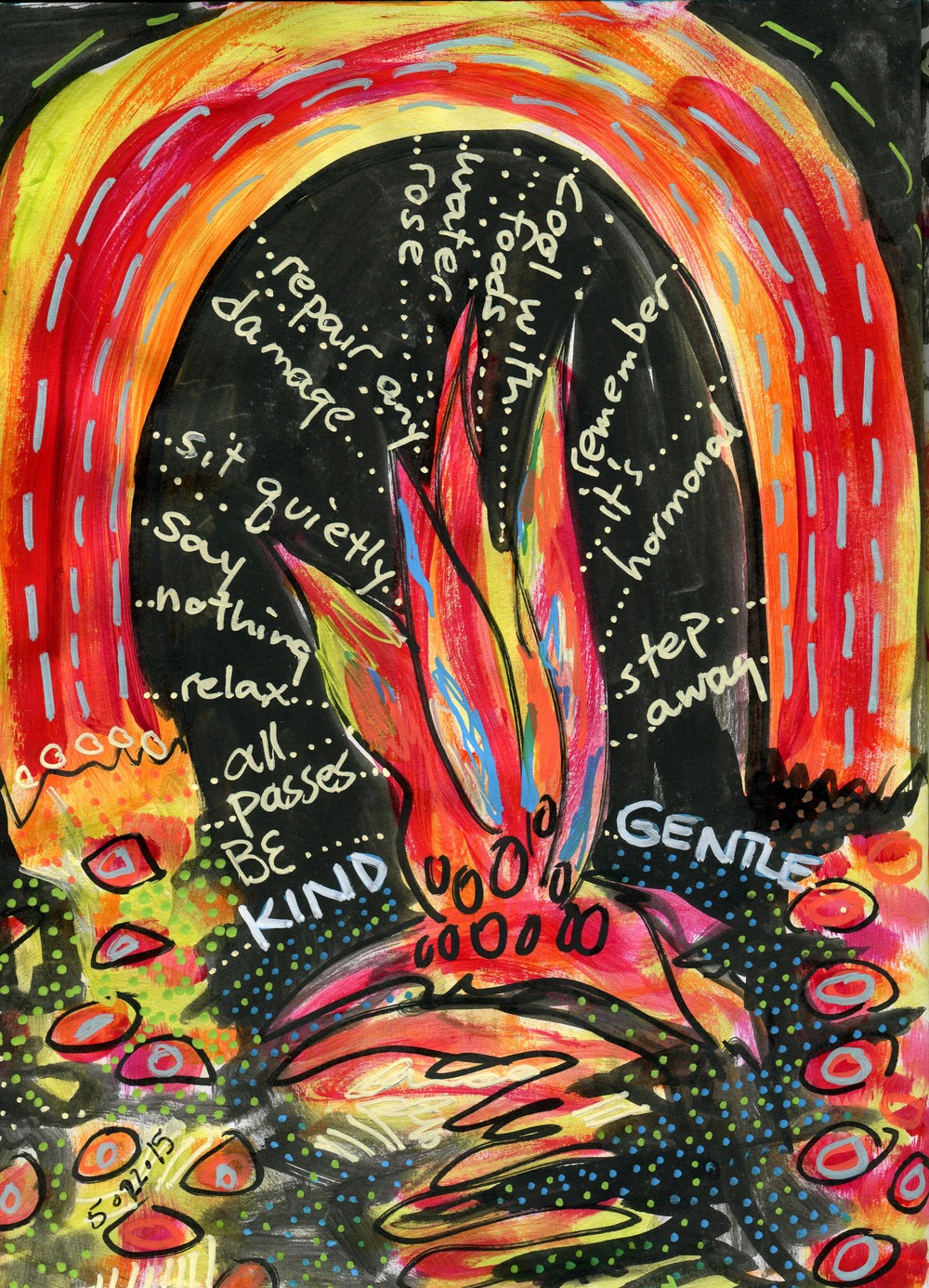 Hot Flash Temple, art journal image May 2015
