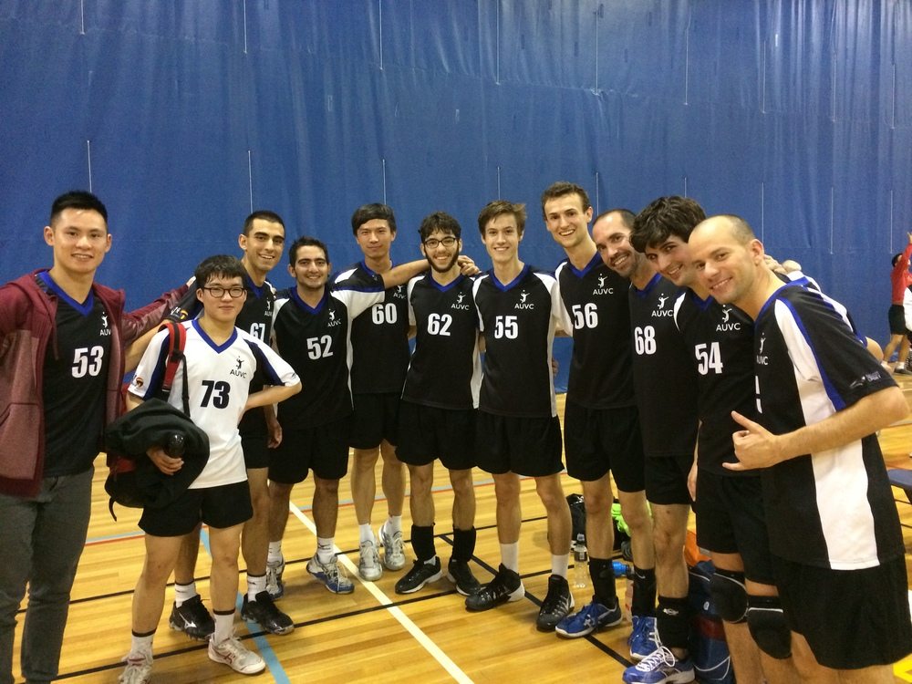 The AUVC Mens Division 1 team, after a hard-fought victory against Austral Volleyball Club.