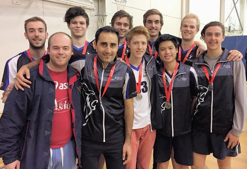 2015 SUG's Volleyball Silver Medalists - Adelaide University   (Left to Right) Brodie McDougall, Jarrad Newbold (Coach), Tom Mansfield, Daniel Zakeri, Nick Blewett, Hamish Templer, Stephen Rudd, Duy Nguyen, Michael Bettison, Elliott Jamie.