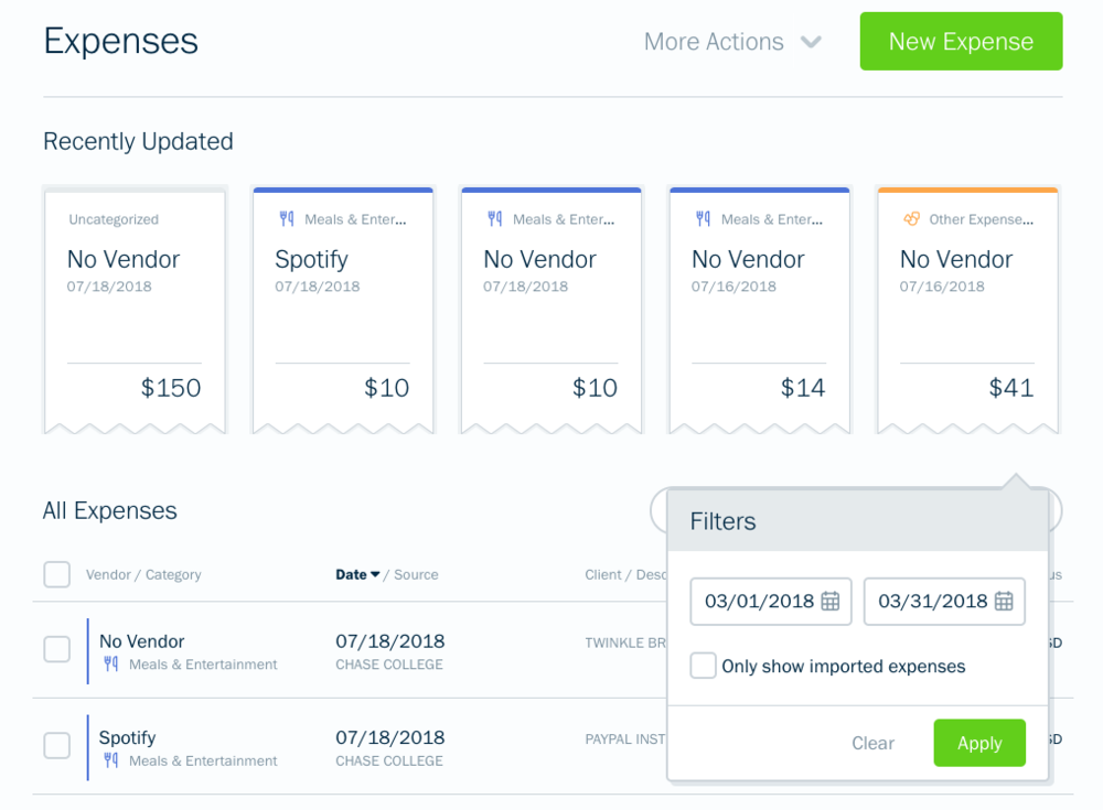Example of the expense options in Freshbooks