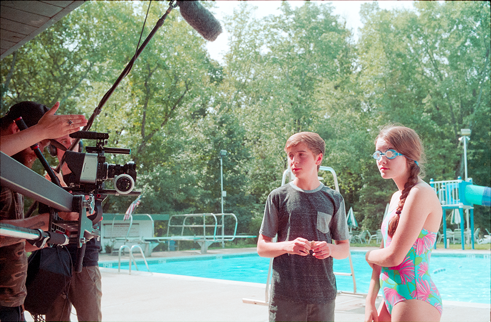 Actors Gavin Becker and Makenna Stergion on set.   Photo by Jimmy O'Donnell.