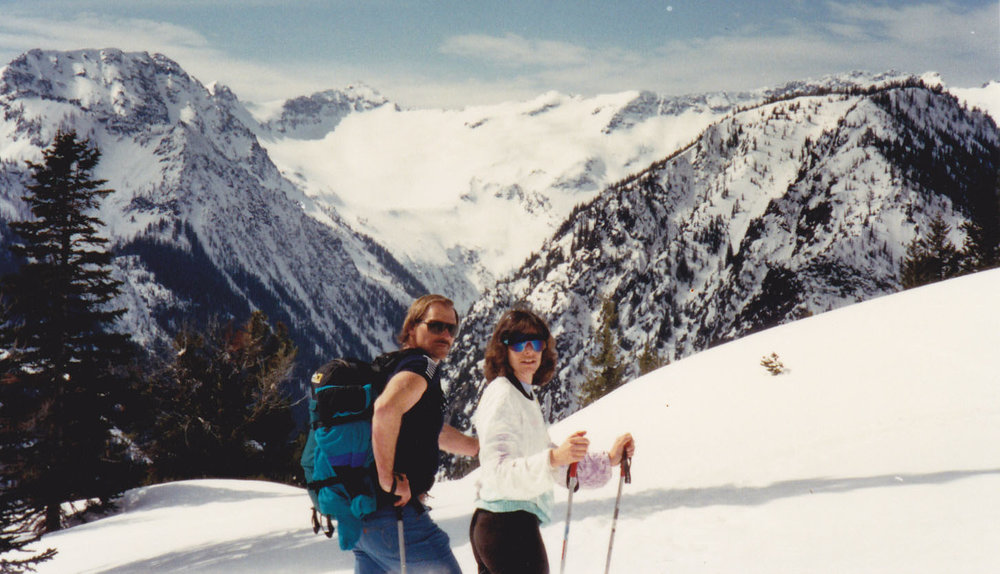 Backcountry skiing Scottish Lakes, Washington Cascades with Ron Gregg, May 1991.