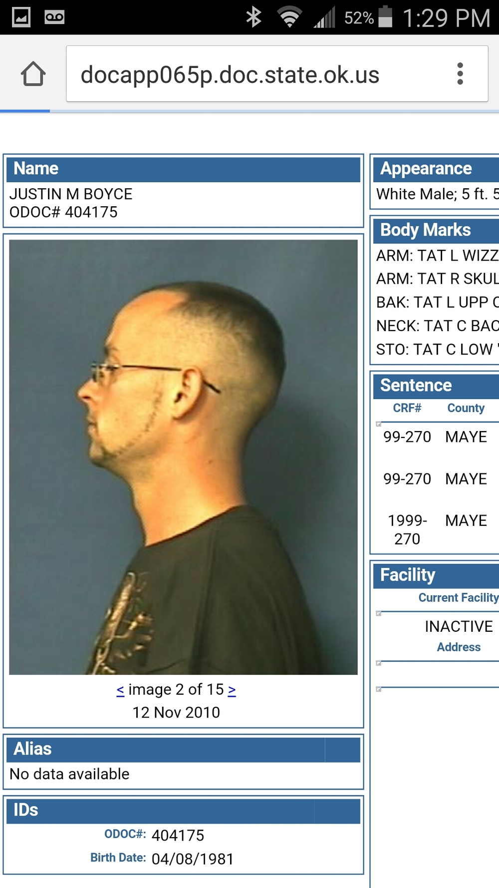 Justin M Boyce Wanted out of Tulsa, OK caught by Pryor police.