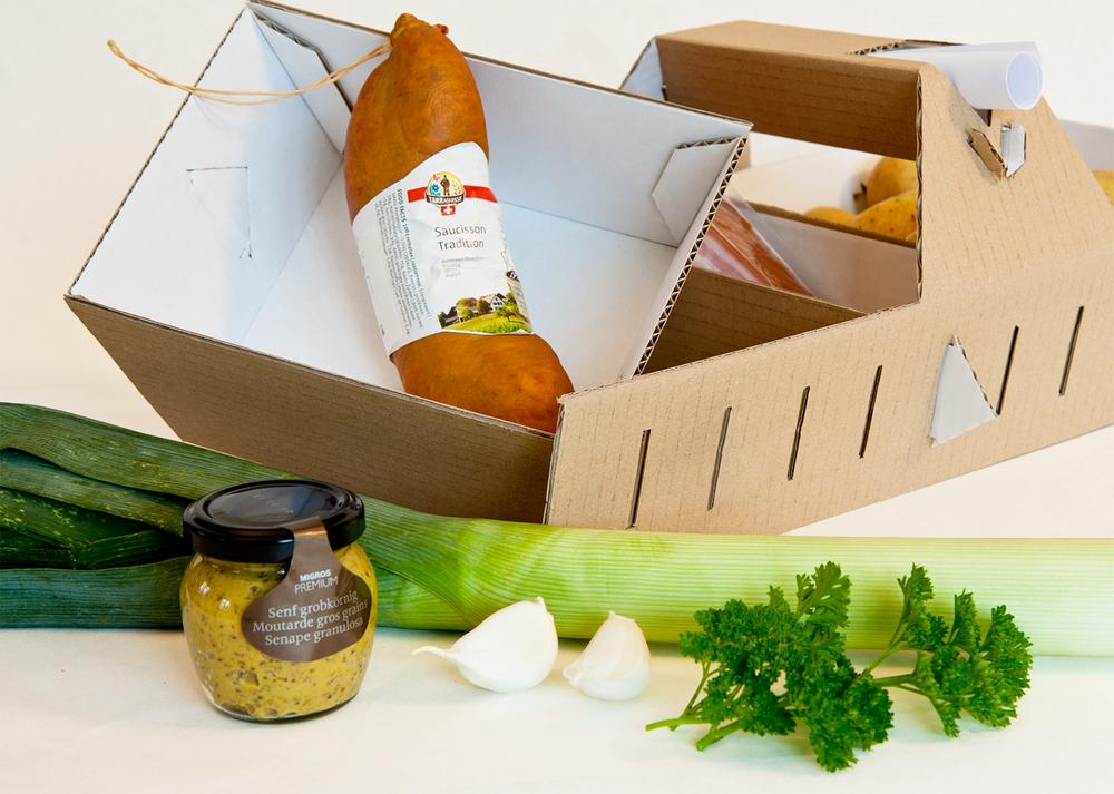 Gourmetkorb – Anzahl, Grösse und Platzierung der Behältnisse sind variabel.