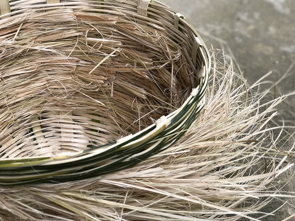 Basket No. 2 made of bamboo wast material.