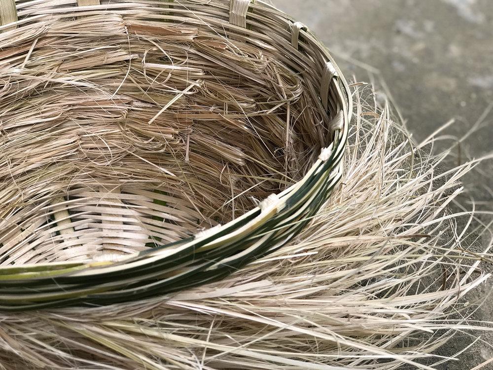 Basket No. 2 made of bamboo wast material.
