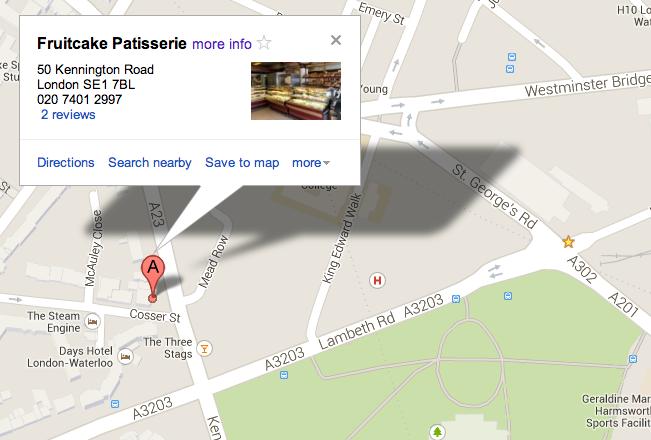 在 Lambeth Road 附近的糕点屋 Fruitcake Patisserie