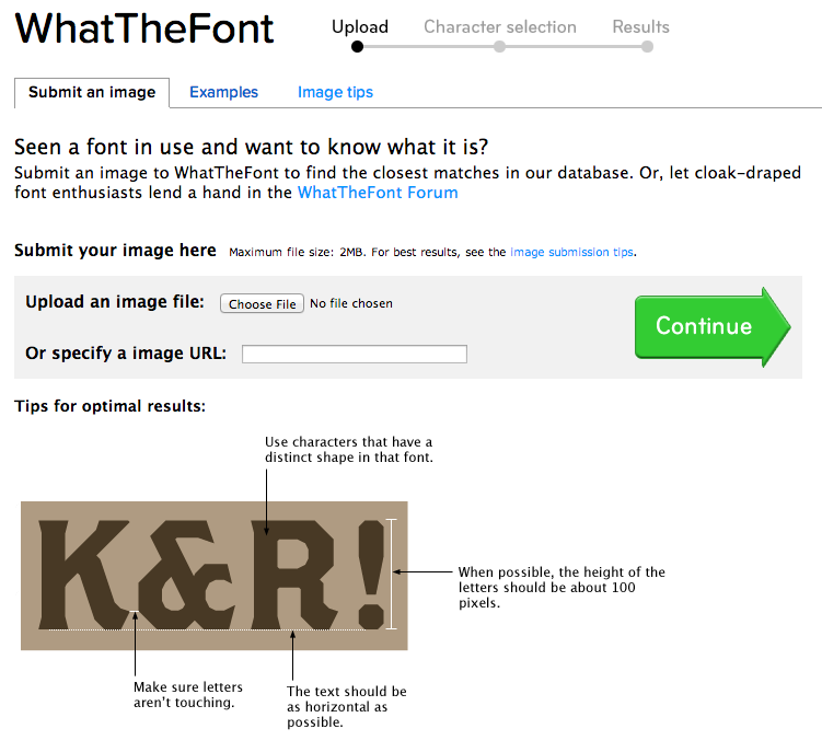 """Interface of """"what the font"""""""