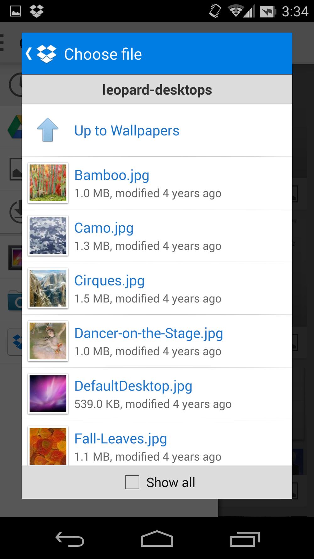 """在""""设置壁纸""""界面直接选择 Dropbox 里面的图片"""