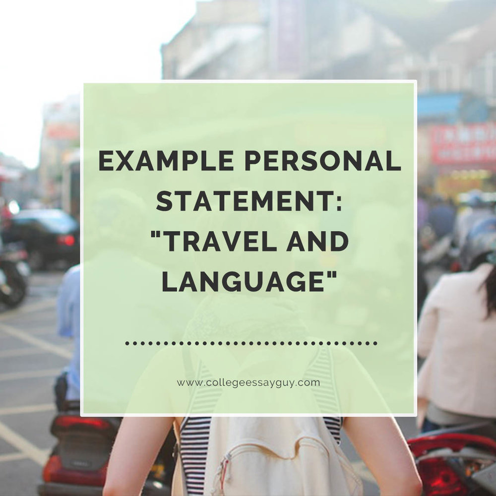 Example Personal Statement Travel and Language