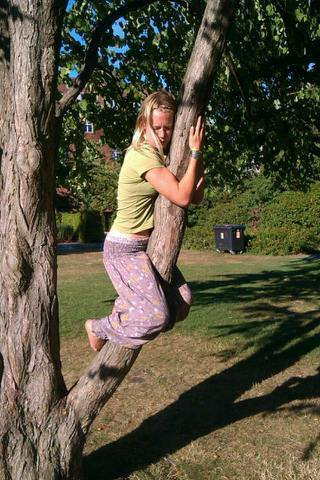 And of course, hugging trees.