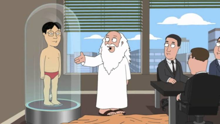 Filled asian reporter on family guy layne