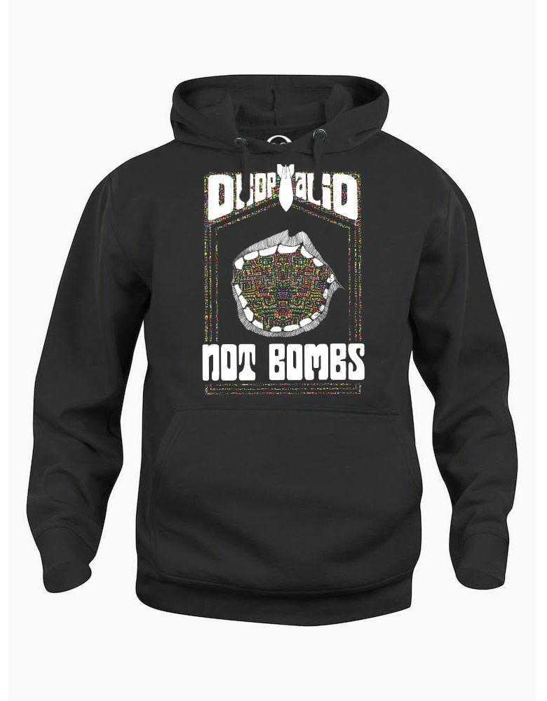 Drop Acid Not Bombs hoodie  €34.99 Available in black, dark grey