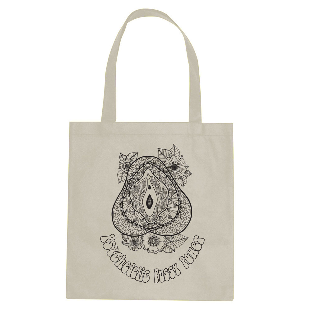 Psychedelic Pussy Power tote bag  €14.99 Available in natural