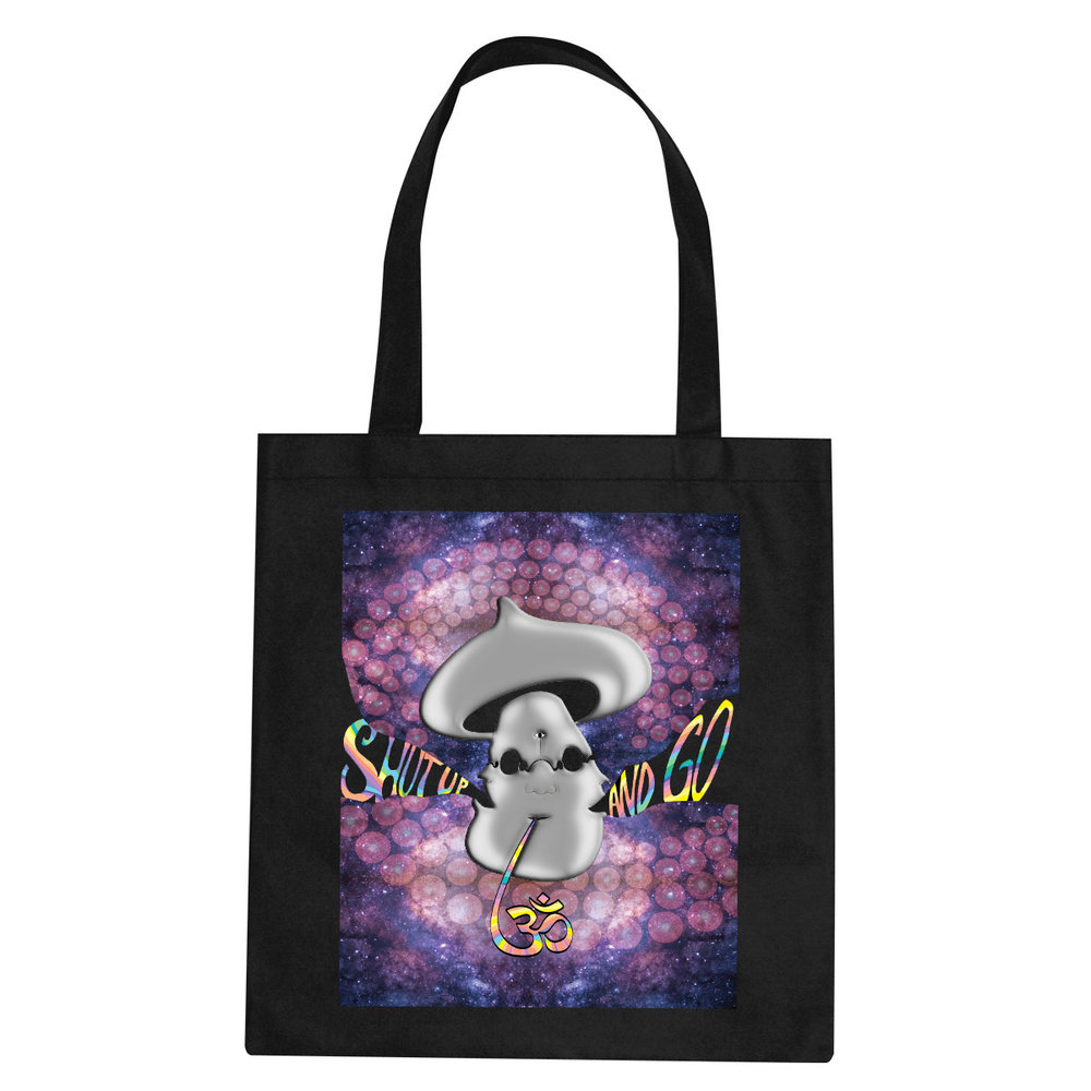 Shut Up and Go Om tote bag  €14.99 Available in black