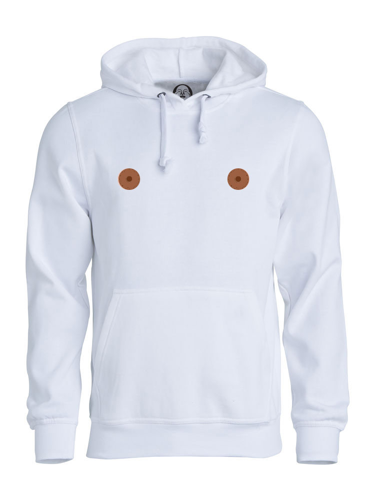 Brown nipple hoodie  €34.99 Available in white, black, dark grey