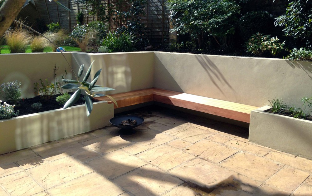 Rendered beds, cedar bench, floating bench, belsize park.jpg