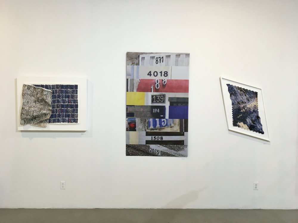 "871401818913919411515082065 eight Google reCAPTCHA images, UV print on vinyl mesh, 60""x36"" 2017, edition of 4"