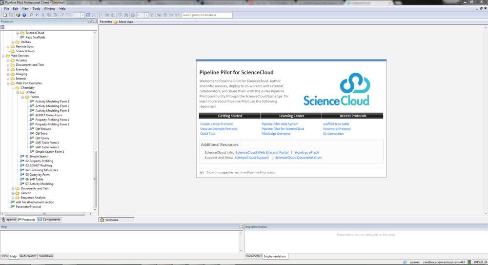 Pipeline Pilot client used to create protocols and publish them into ScienceCloud (analysis protocol for Pipette for example).