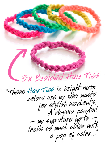 """These 3x Braided Hair Ties in bright neon colors are my new musts for stylish workouts. A classic ponytail — my signature go-to — looks so much cuter with a pop of color..."""