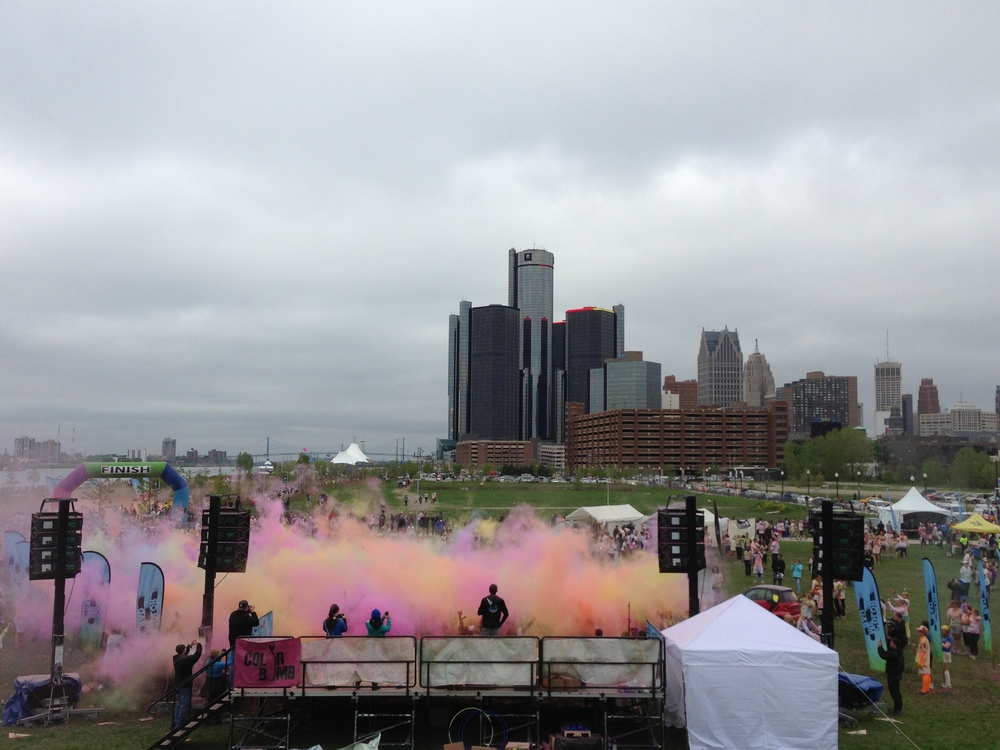 Detroit Skyline from the Color Run