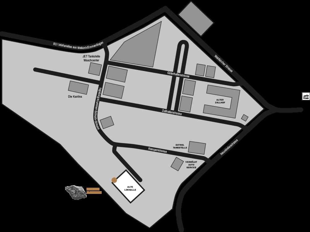 Anfahrtsbeschreibung aus allen Richtungen (Achtung, es gibt gerade sehr viel Neubau auf dem Gelände des Güterbahnhof Nord). Wenn Sie auf das Bild klicken, öffnet sich eine PDF die sie sich auch ausdrucken können.