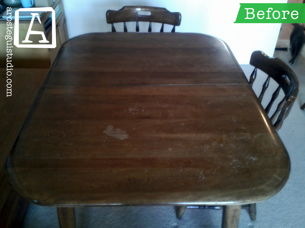 Dining Table On A Budget The Is Colonial Style Piece With Walnut Stain Top Was In Rough Condition But Base Good Shape