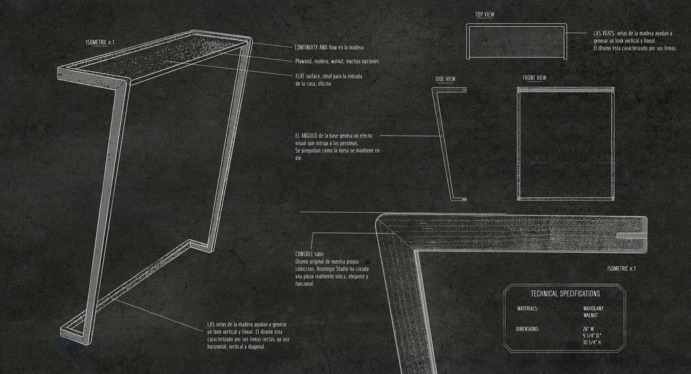 Airy Console Table Concept Design  ©2015 Arostegui Studio