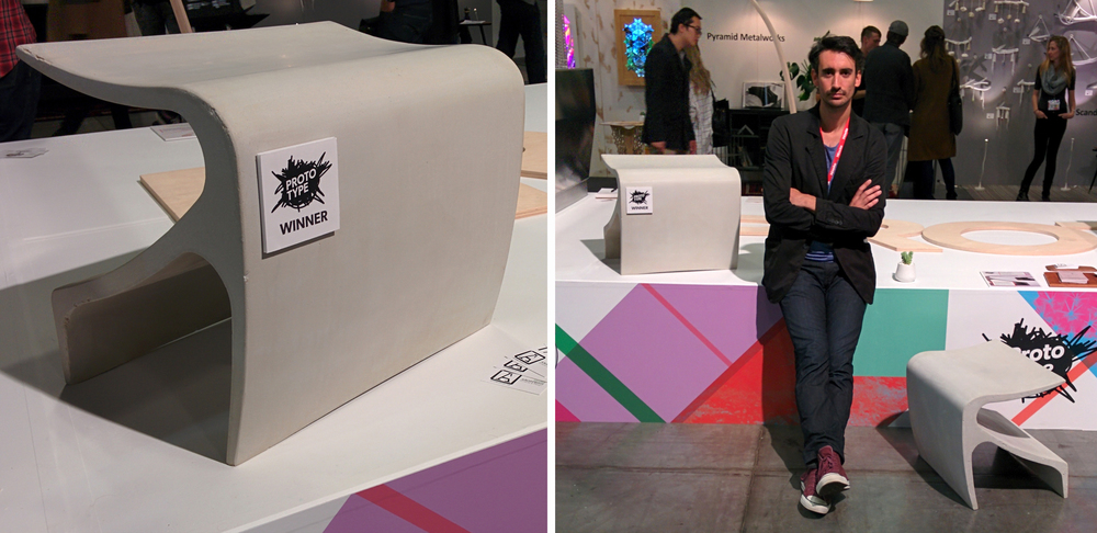 Cristian Arostegui G., our principal designer, and The Sofi bench at the Prototype exhibit at the IDS West in Vancouver- Arostegui Studio