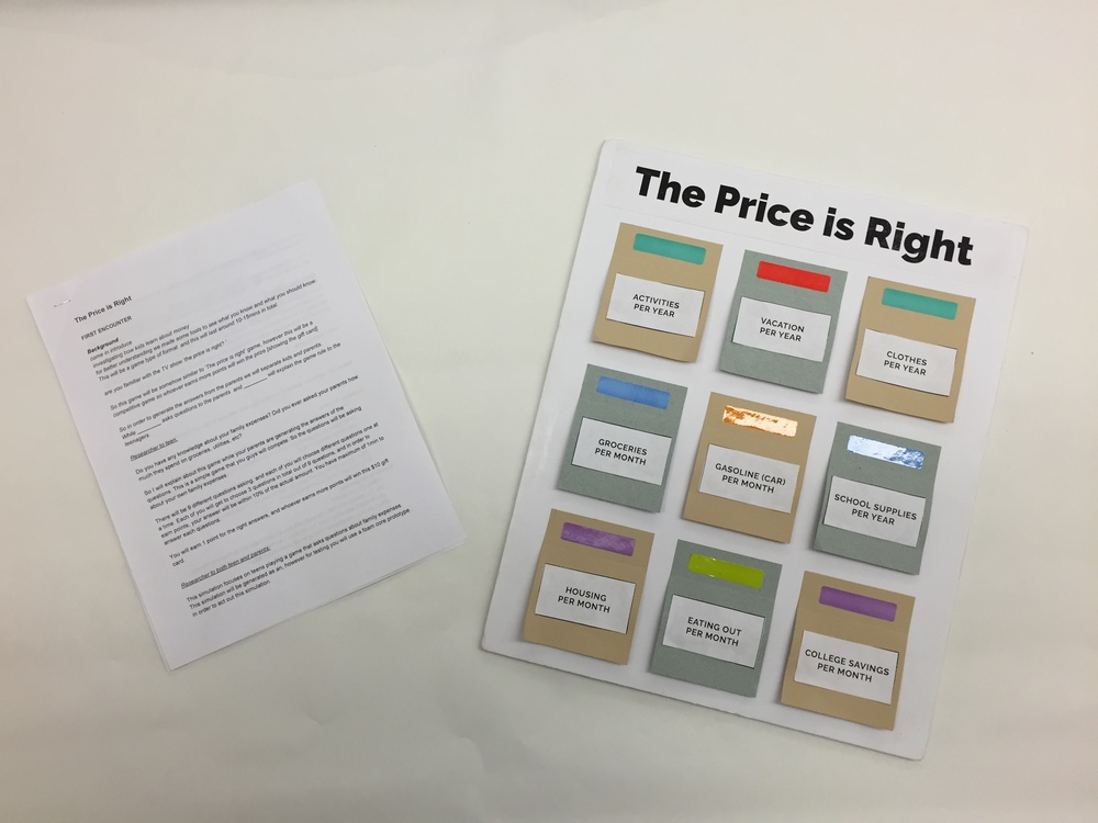 Price is Right paper prototype from User Enactments