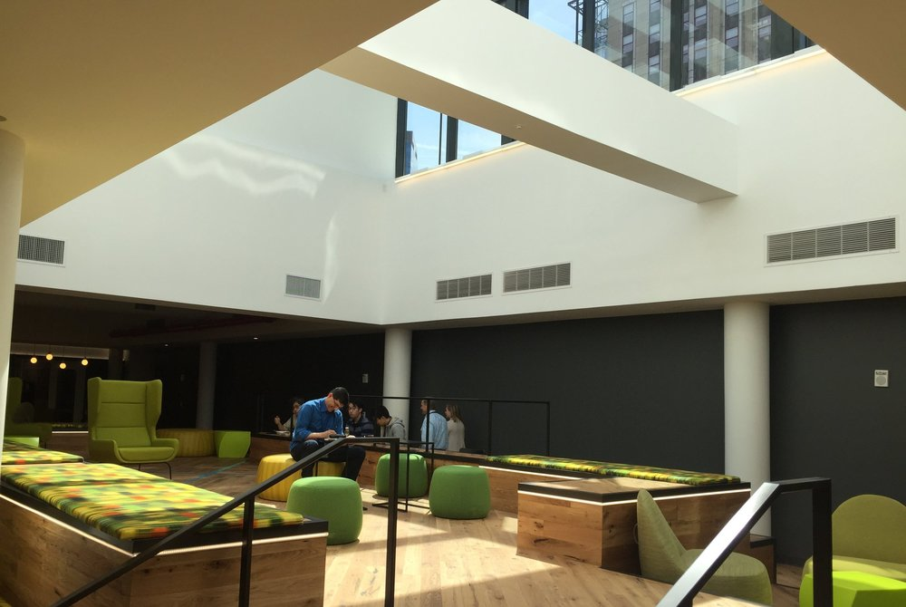 The new Amazon NYC shared space and cafeteria, under the shadow of the Empire State Building.