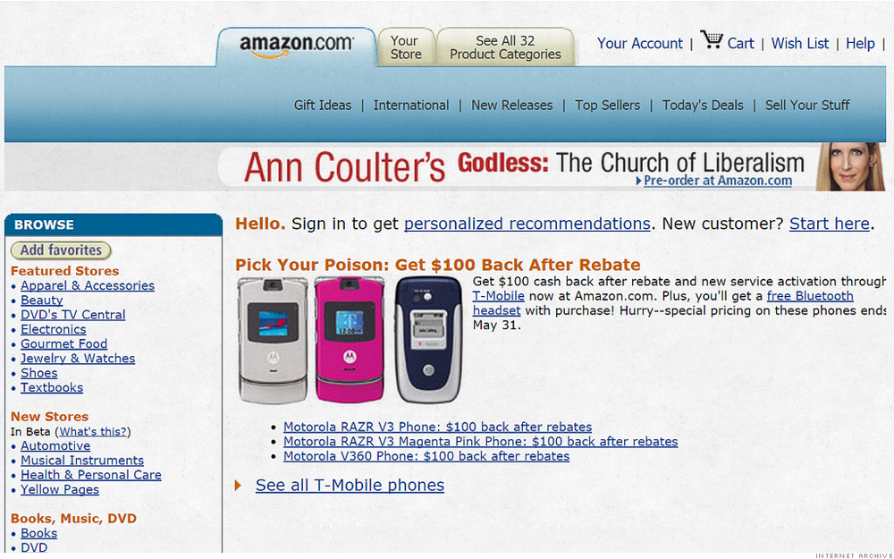 AMAZON Oh man. RAZR Phones. That takes us back to our T9 days. It's interesting to see how ad space has evolved. This random is-it-content-is-it-an-ad miss mosh is exactly why banner ads have gone the way of the dinosaur. Important to note that, 20 years ago, there were 32 product categories. Thirty two. There are now… waaaaay more than that. Hell,