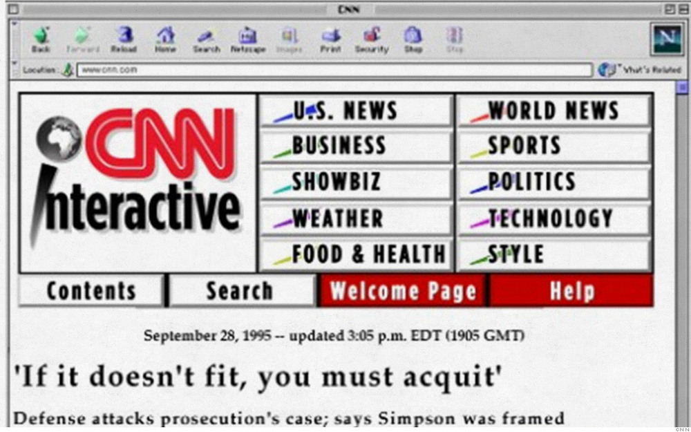 "CNN INTERACTIVE Remember when websites were referred to as an ""interactive"" branch? It always felt super video-game-driven to us. Like someone was gonna jump out of your Pentium-60 and lead you into a maze of poorly designated hyperlinks. To be fair, this is not the worst menu we've seen of the '95 era. Ugly? For sure. But straight-forward. Also, the 80s are calling, and want that logo and their color triangles back!  Reading the news from 1995 makes me feel like I am in grade school again. No, like, literally."