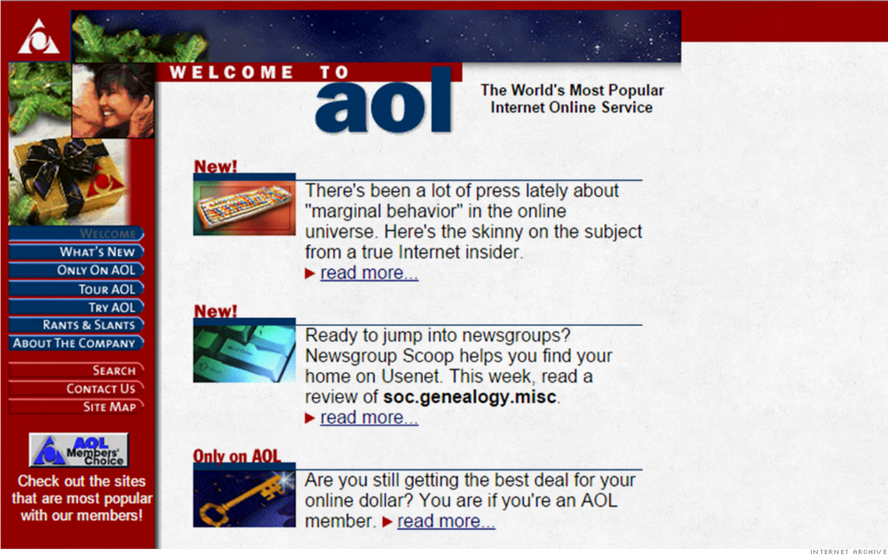 AOL BRB, crying into my Red Bull. This is just… I mean… What? It looks like the table of contents from your high school science textbook. My OCD is flaring up just noticing all of the blank righthand space. Excuse me while I go arrange my pens symmetrically on my desk.  This also is a cruel reminder that my AOL screen-name, at one brief moment in time, was