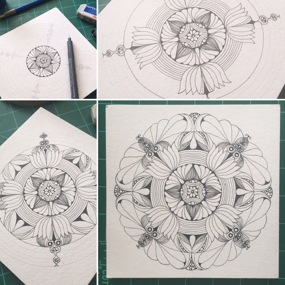 Growing the Seed:  From start to finish, using organic shapes such as pods, seeds, petals, leaves, etc.  Materials used include mechanical pencils, Staedler fine tip pens (prefer these for their consistent ink flow and reasonable cost), compass and watercolors.