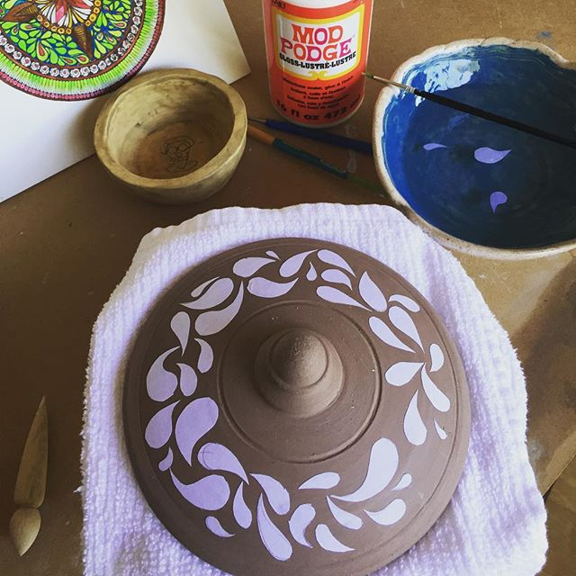 Mandala meets clay.  Prep for water-etching. #pottery #ceramics #clay #mandala #wateretching #wip
