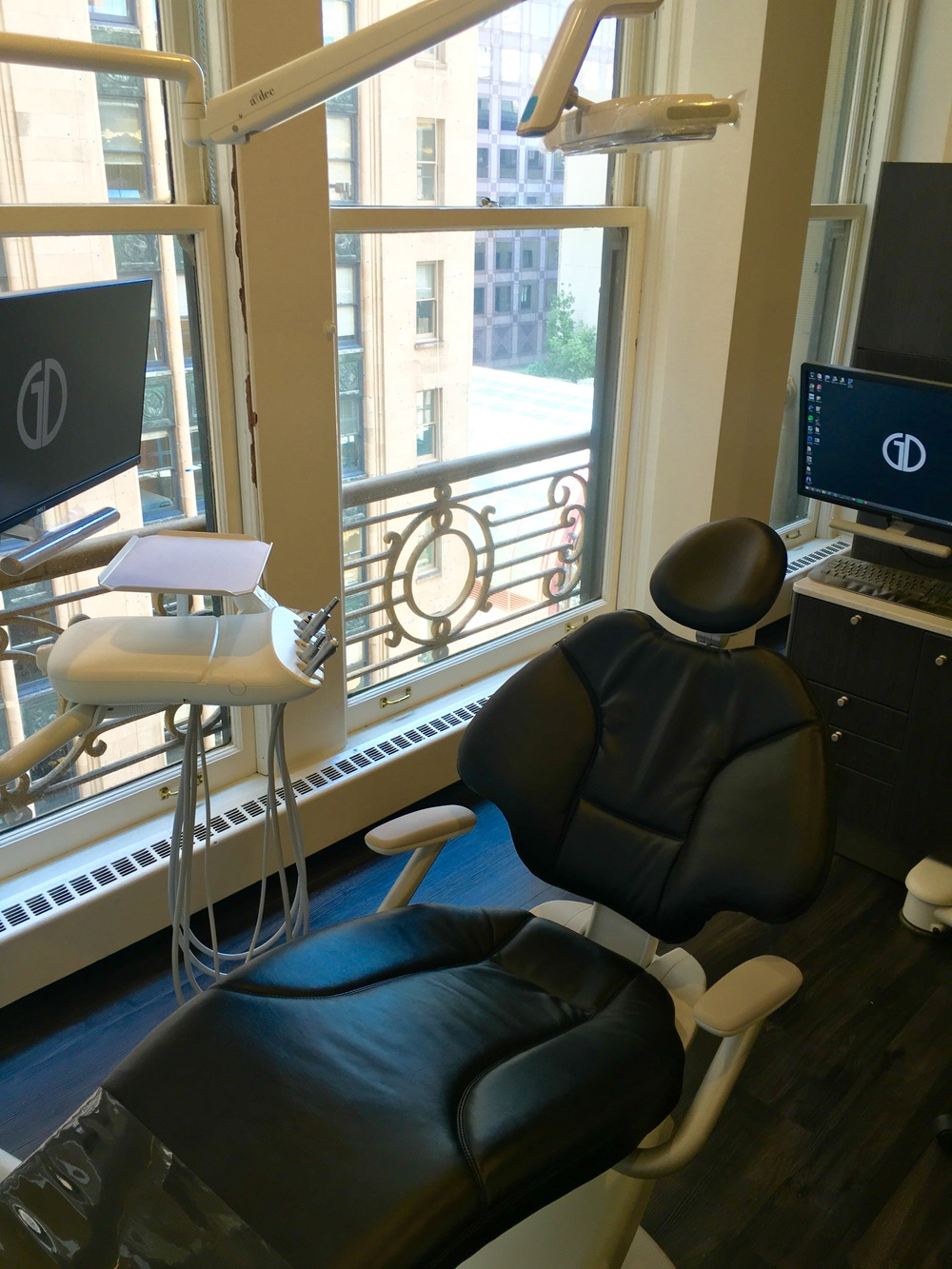 Chair view and workstation in our San Francisco dental office