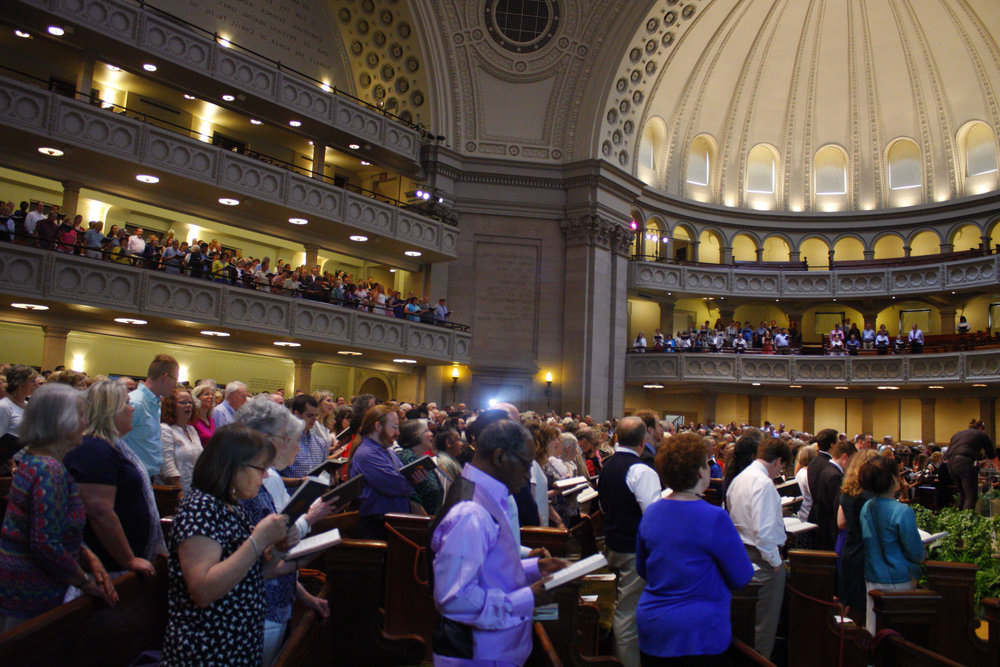 Christian Scientists sing at The First Church of Christ, Scientist, in Boston, MA