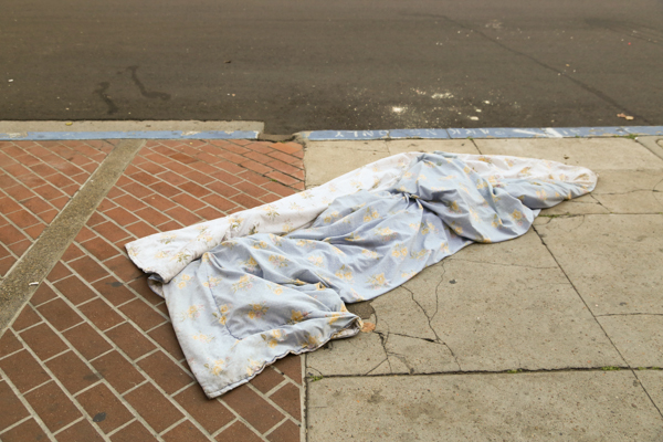 I'm not sure why this blanket was laying on a San Diego sidewalk. It reminded me of the east coast and the sub freezing weather that we (happily) had just flown away from.