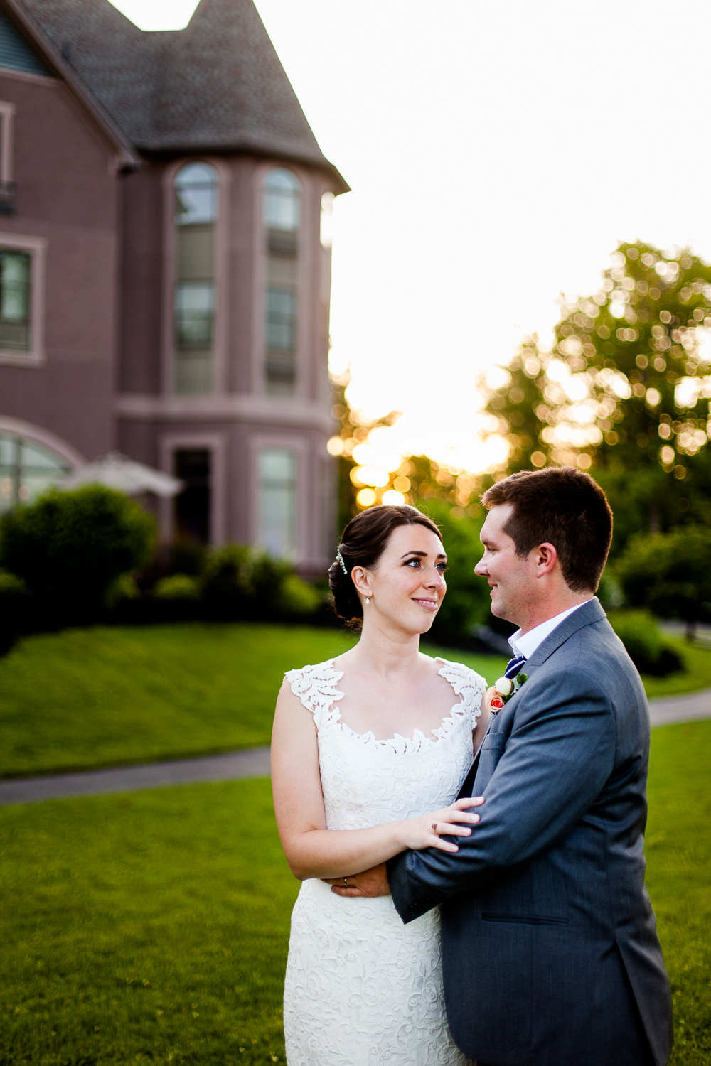 Bride and groom at sunset in Geneva New York
