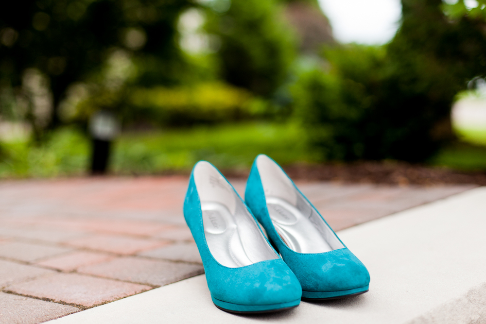 Teal bride shoes