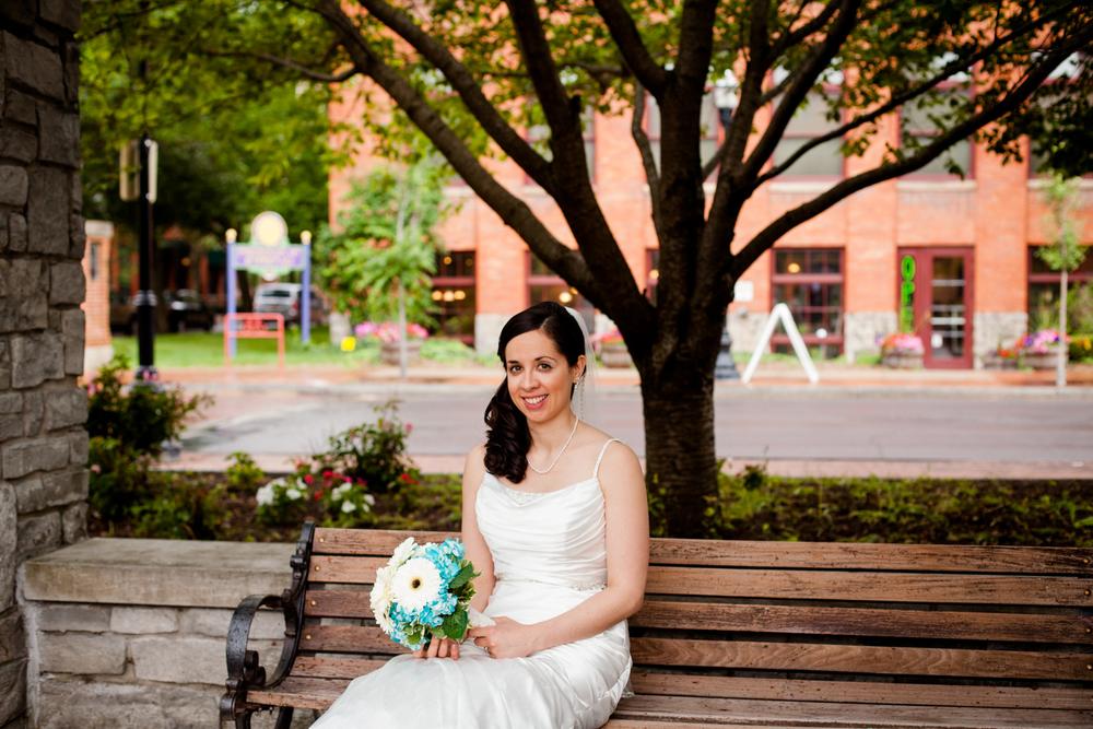 Bride sitting in Franklin Square.
