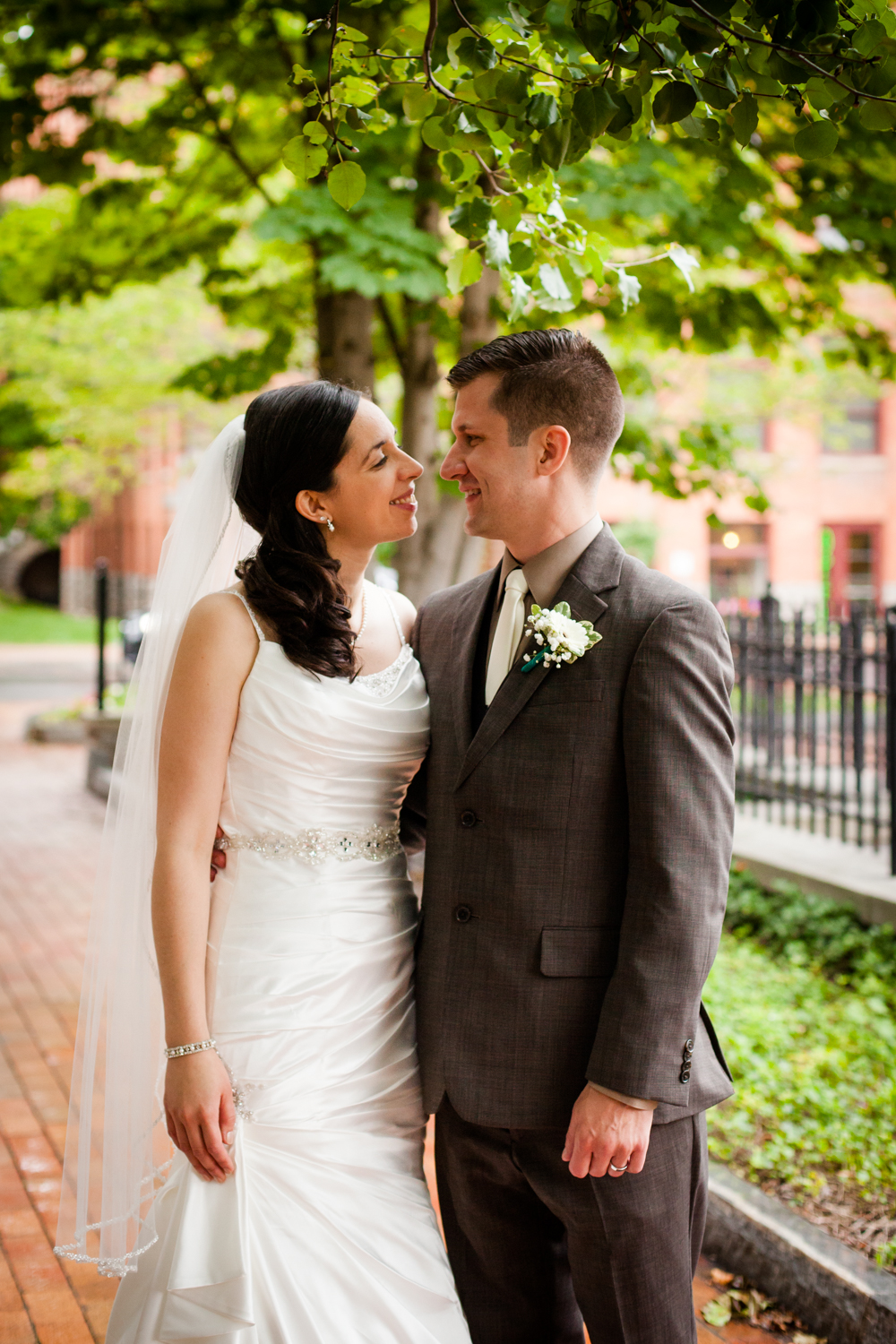 Bride and groom in Franklin Square, Syracuse New York