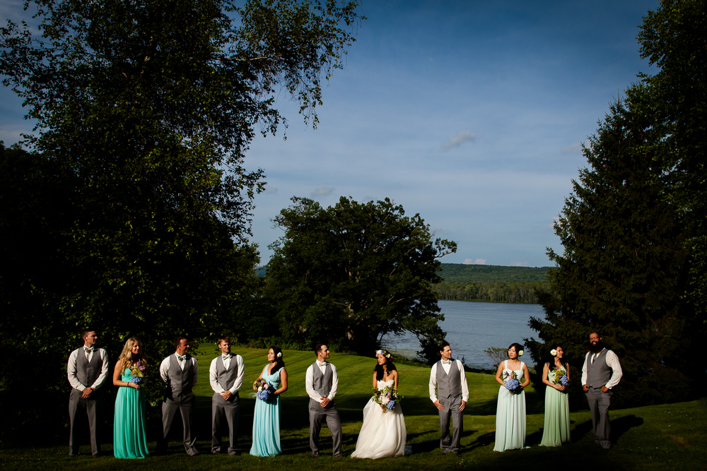 Dramatic bridal party photograph