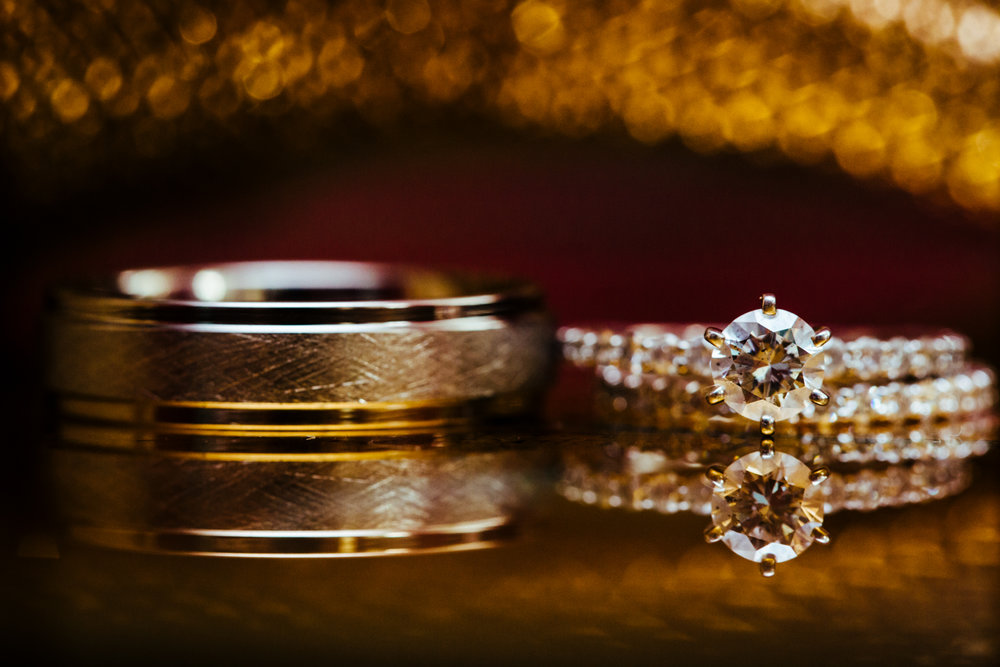 Up close image of diamond wedding rings.