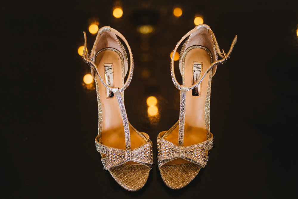 Sparkly wedding shoes.