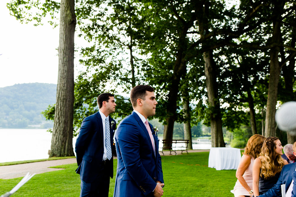 Cooperstown NY wedding photos, Cooperstown NY wedding photography, Cooperstown NY wedding photographer, wedding in Cooperstown NY, The Otesaga wedding photos, The Otesaga wedding photography, The Otesaga wedding photographer, wedding at the otesaga,upstate ny wedding photos, fingerlakes wedding, lake wedding, ballroom wedding, wedding inspo, indoor wedding, classic wedding, traditional wedding, wedding details, wedding ceremony, outdoor ceremony, lakeside ceremony, groom waits for bride