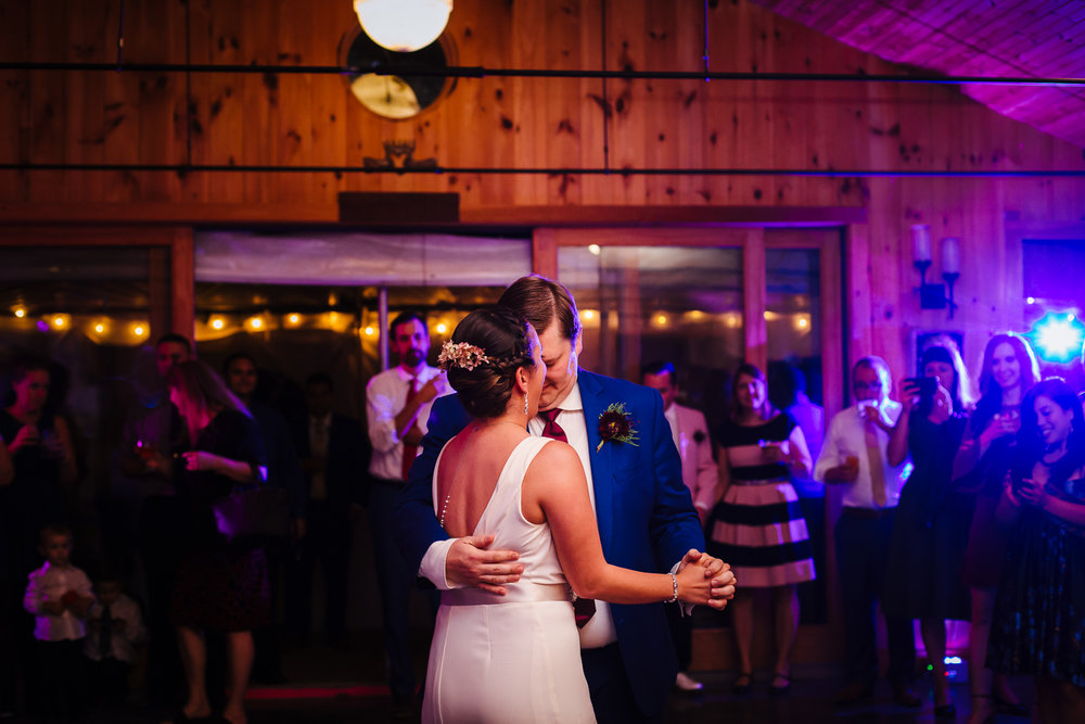 First dance between bride and groom at New Park Retreat in Ithaca, NY.