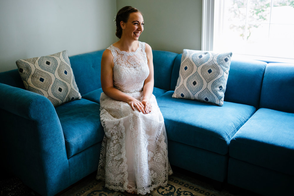 Bridal portrait at the Fontainebleau Inn in the bridal suite. The bride is in a lace BHLDN dress.