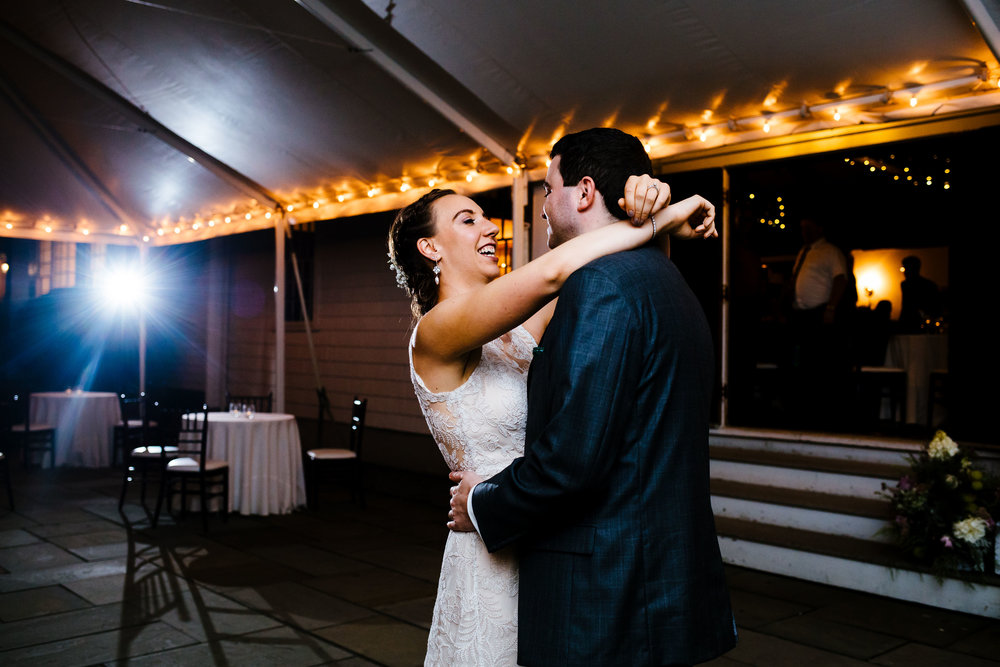 First dance under a tent at the Fontainebleau Inn in Alpine, NY.